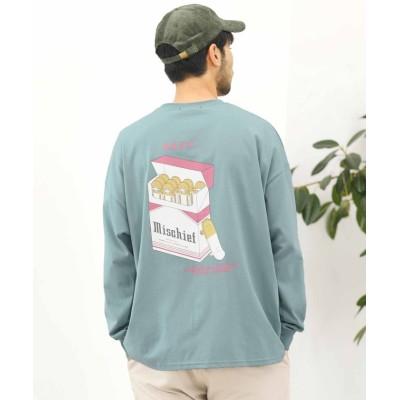 【ジギーズショップ】 スケボー&スニーカープリントロンT / ロンT メンズ Tシャツ 長袖Tシャツ ロンティー ビッグシルエット プリント メンズ ブルー L JIGGYS SHOP