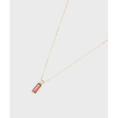 COCOSHNIK(ココシュニック) カラーストーン(ガーネット)バゲットカット ネックレス