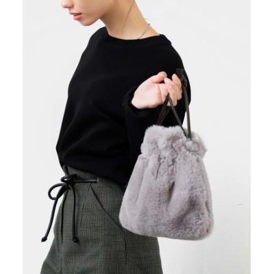 【ヴィータフェリーチェ】 エコファー2way巾着バッグ レディース グレー F VitaFelice