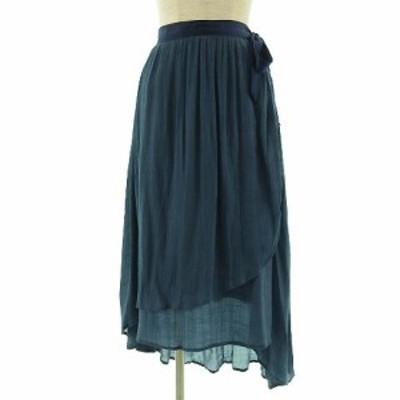 【中古】フリーズマート Free's Mart スカート ロング フレアー アシンメトリー ブルー系 青緑 S レディース