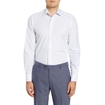 デイビッドドナヒュー メンズ シャツ トップス Micro Geo Print Slim Fit Dress Shirt WHITE/ NAVY