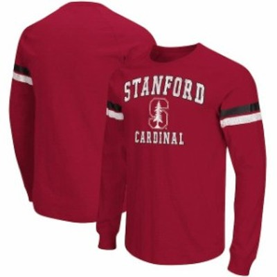 Colosseum コロセウム スポーツ用品  Colosseum Stanford Cardinal Cardinal Huddle Up II Striped Long Sleeve T-Shirt