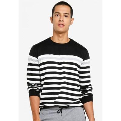 ザローラ ZALORA BASICS メンズ ニット・セーター トップス Jumper with Yoke Stripe Black/White/Grey