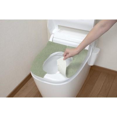 サンコー ズレない トイレ 便座 カバー グリーン 大型用 おくだけ吸着 ふかテック KF-93(日本製)