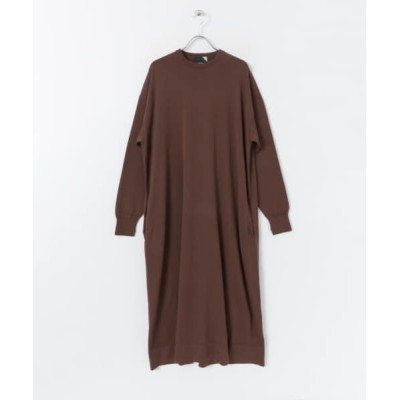 URBAN RESEARCH ROSSO/アーバンリサーチ ロッソ ATON CREWNECK LONG DRESS BROWN 2