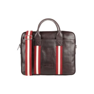 BALLY ブリーフケース ダークブラウン 革 / 紡績繊維 ブリーフケース
