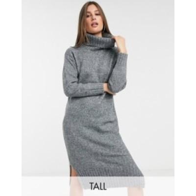ニュールック レディース ワンピース トップス New Look Tall roll neck dress in dark gray Dark gray