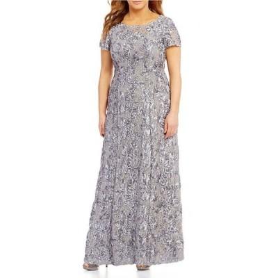 アレックスイブニングス レディース ワンピース トップス Plus Size Floral Rosette Short Sleeve A-Line Gown