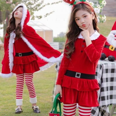 サンタ サンタクロース クリスマス衣装 仮装 コスプレ コスチューム 子供服 クリスマス メリークリスマス キッズ クリスマス マント ワンピース 可愛い xsd04