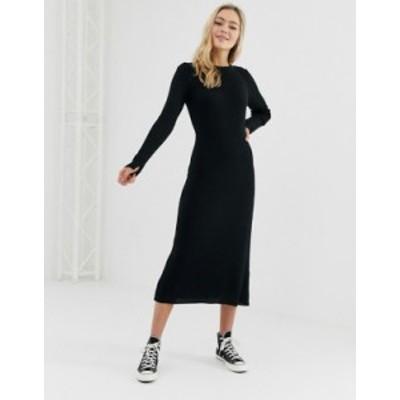 エイソス レディース ワンピース トップス ASOS DESIGN rib knit a-line midi dress Black