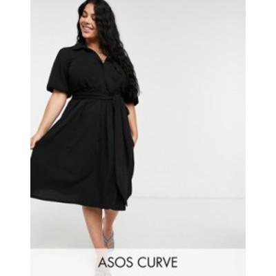 エイソス レディース ワンピース トップス ASOS DESIGN Curve wrap shirt midi skater dress with self belt in black Black