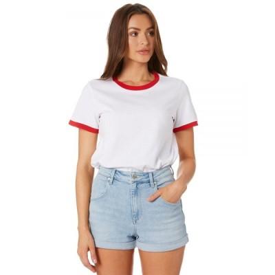 エーエスカラー As colour レディース Tシャツ トップス ringer tee White red