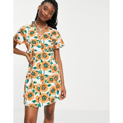 デイジーストリート ミニドレス レディース Daisy Street mini dress in sunflower print エイソス ASOS イエロー 黄