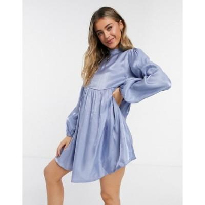 ローラ メイ レディース ワンピース トップス Lola May smock dress with volume sleeves in blue