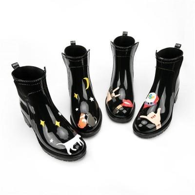 2020新作 レインブーツ 防水ブーツ レディース ショートレイン ブーツ おしゃれ プリントあり レインシューズ 雨靴 長靴 雨 雪 防寒防災対策