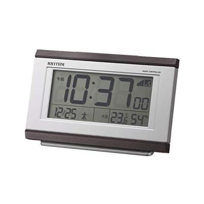 リズム(RHYTHM) 電波時計 目覚まし時計 電子音アラーム 温度 湿度 カレンダー 六曜 ライト付き 8RZ161SR06