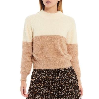 ルーシーパリ レディース パーカー・スウェット アウター Solstice Two Toned Mock Neck Long Sleeve Eyelash Sweater