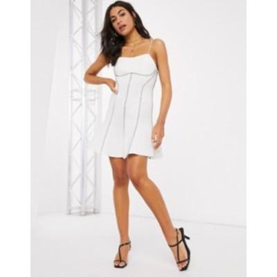 エイソス レディース ワンピース トップス ASOS DESIGN top stitch seamed cami skater mini dress in ivory Ivory