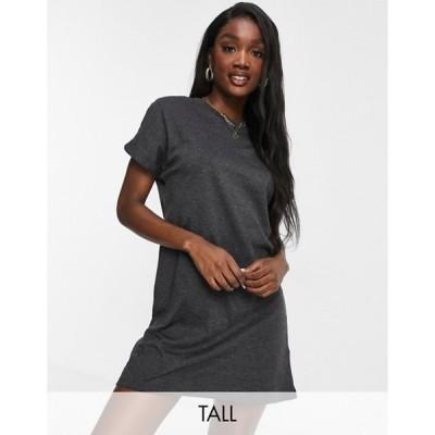 ブレイブソウル レディース ワンピース トップス Brave Soul Tall Xena T-shirt dress in charcoal