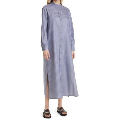 マックスマーラ MAX MARA LEISURE レディース ワンピース シャツワンピース ワンピース・ドレス Pinstripe Long Sleeve Cotton Shirtdress Cornflower Blue