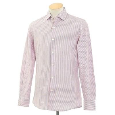 グランシャツ Glanshirt コットン ストライプ セミワイドカラーシャツ ホワイト×レッド×ダークブルー 37