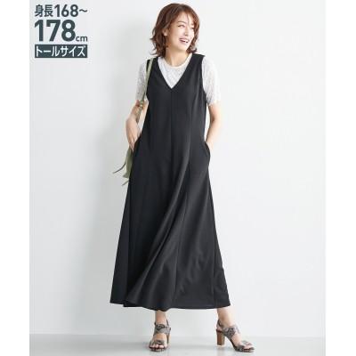 トールサイズ Vネックマチフレアカットソージャンパースカート 【高身長・長身】ジャンスカ, tall  size, Dress