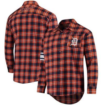 ユニセックス スポーツリーグ メジャーリーグ Detroit Tigers Wordmark Basic Flannel Button-Up Shirt - Orange Tシャツ