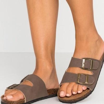 レディース 靴 シューズ REX DOUBLE BUCKLE SLIDE - Slippers - brown