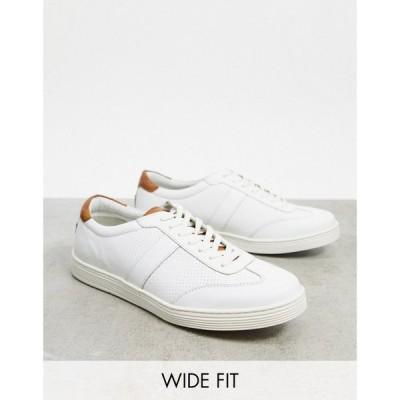 デューン Dune メンズ スニーカー シューズ・靴 wide fit side stripe trainers in white leather ホワイト
