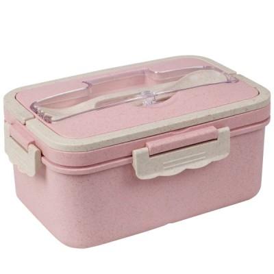 uxcell 弁当箱 Bentoランチボックス 3つのコンパートメント ボックスコンテナ 電子レンジ 冷凍庫 食器洗い機 大容量1500ML ピンク