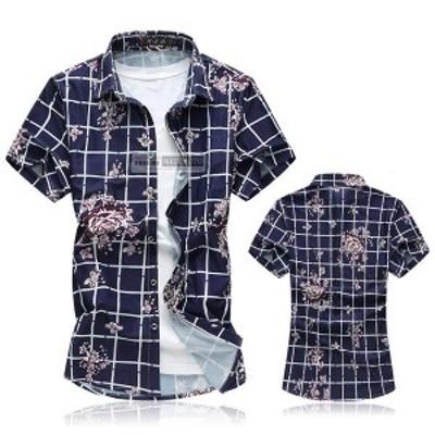 【還元祭クーポン利用可】半袖シャツ メンズ カジュアルシャツ 花柄 アロハシャツ リゾートビーチ 大きいサイズ チェック柄 2018夏