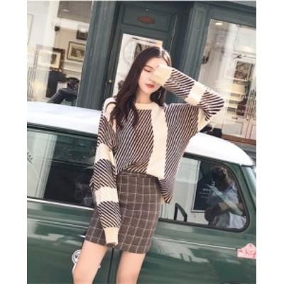 韓国ファッション 広いネックライン フェミニン ルーズなフィット ニットウェア