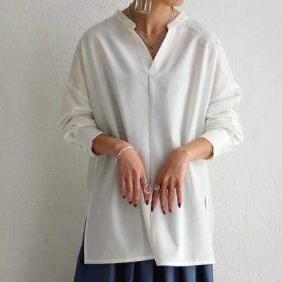 スキッパーシャツ シャツ レディース トップス 長袖 無地・8月19日10時〜再販。メール便不可