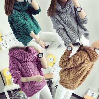 【】セーター レディース トップス ゆったり 長袖 セーター おでかけ かわいい リブ ボトルネック 愛され 女性 おしゃれ セーター 秋新作