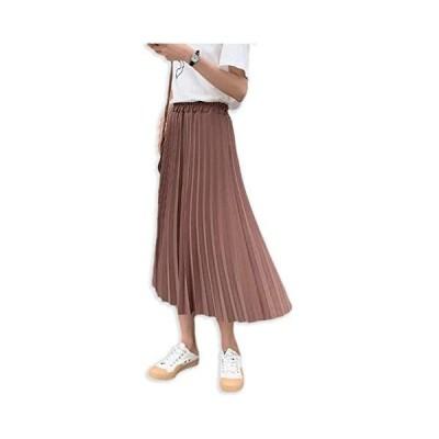 [ミケディ] プリーツスカート ロング Aライン 無地 しっかり生地 上品 シンプル レディース (ブラウン S)