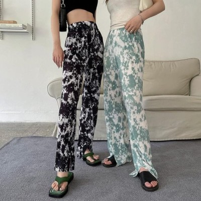 VANILLAMILK レディース パンツ phonic printing slit pleated banding trousers