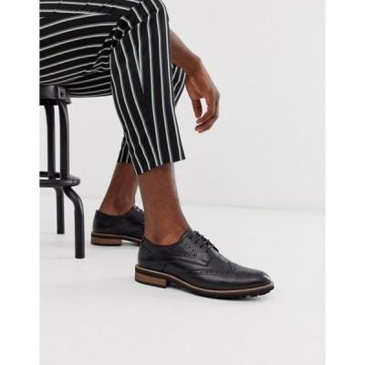モス ブラザーズ メンズ スリッポン・ローファー シューズ Moss London brogue shoes in black leather with chunky sole
