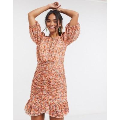 フォーエバーニュー ミニドレス レディース Forever New flippy hem mini dress in burnt orange floral print エイソス ASOS オレンジ