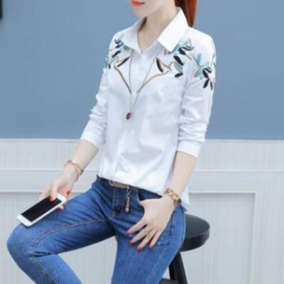 花柄 刺繍 ブラウス シャツ 白シャツ 白ブラウス 長袖 秋服 春服 レディース トップス 韓国 ファッション