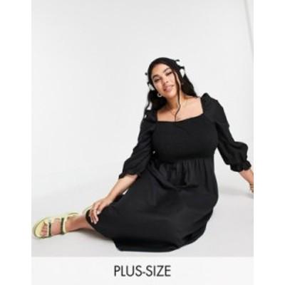 ニュールック レディース ワンピース トップス New Look Curve long sleeve textured shirred midi dress in black Black