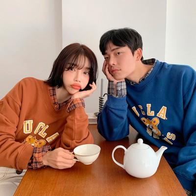 [Mocobling]韓国ファッション代表ブランド!裏起毛プリントオーバーサイズスウェット