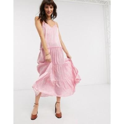 トップショップ レディース ワンピース トップス Topshop tiered cami midi dress in pink floral