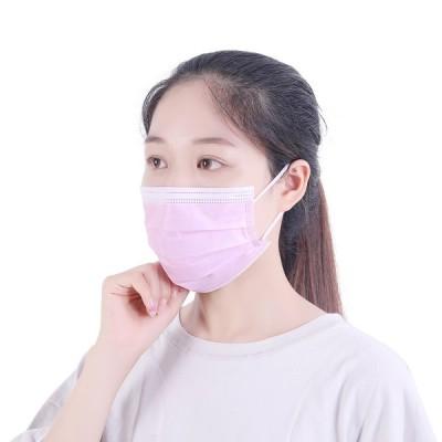 カラーマスク ピンク可愛い 50枚入 三層構造 不織布マスク 使い捨て 立体 プリーツタイプ 紐同色カラー紐