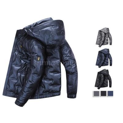 ダウンジャケット ダウンコート メンズ アウター ジャケット コート フード付き 長袖 暖か 防寒着 軽量 羽毛 ボリュームネック