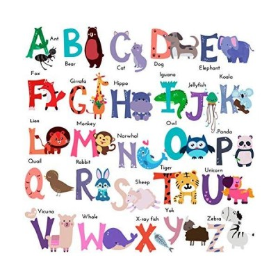 DEKOSH Baby Nursery Animal Alphabet Peel & Stick ABC Kids Wall Decals  Colo