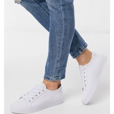 エイソス ASOS DESIGN レディース スニーカー レースアップ シューズ・靴 Dizzy lace up trainers in white ホワイト