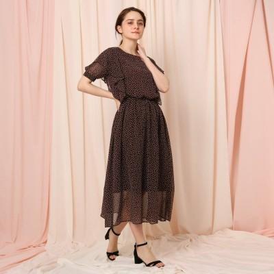 クチュール ブローチ Couture brooch 【WEB限定サイズ(LL)あり】ランダムドットドットパフスリーブラッフルワンピース (ブラウン)