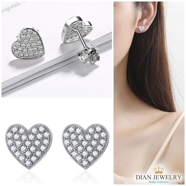 【DIAN 黛恩珠寶】滿版鑽心 925純銀CZ鑽石耳環(WN51146)