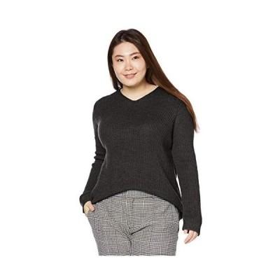 [セシール] セーター Vネックセーター プルオーバー スマートヒート プランプ 大きいサイズ レディース (チャコールグレー 3L)