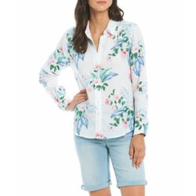トッミーバハマ レディース シャツ トップス Linen Flora Frond Long Sleeve Shirt White